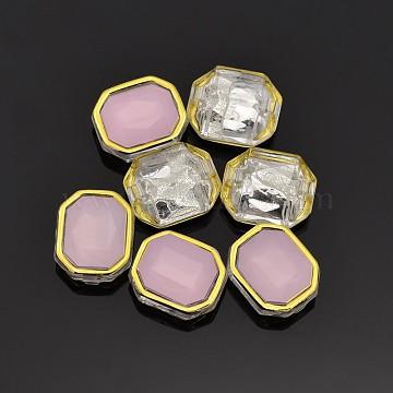 Sew on Rhinestone, Multi-strand Links, Taiwan Acrylic, Golden Plated, Garment Accessories, Rectangle, Pink, 14x12x6.5mm, Hole: 1mm(X-SA12-10x12-ACG-H22)