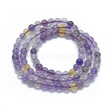 Natural Ametrine Beads Stretch Wrap Bracelets, Three Loops, Round, 20.5''~22.8''(52~58cm), Bead: 6~6.5mm, 86~90pcs/strand(BJEW-D443-05)