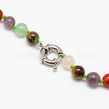 Natural Gemstone Beaded Bib Statement Necklaces(NJEW-P083-07)-2