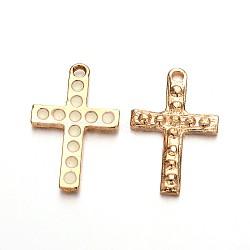Pendentifs croix en émail plaqué or clair, blanc, 27x18x2mm, Trou: 2mm(ENAM-J544-03KCG)