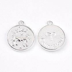 pendants en alliage de style tibétain, plat rond, Aries, argent, 20x17x2.5 mm, trou: 2 mm(PALLOY-XCP00013-01S)