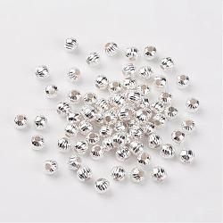 Perles ondulées en fer, couleur argentée, rond, 6 mm de diamètre, Trou: 2mm(X-E187Y-S)