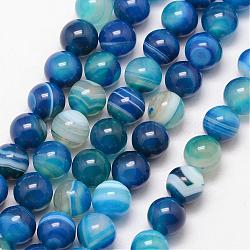 Natural Striped Agate/Banded Agate Bead Strands, Round, Grade A, Dyed & Heated, DeepSkyBlue, 10mm, Hole: 1mm; about 37pcs/strand, 15inches