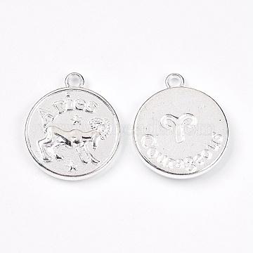 Silver Flat Round Alloy Pendants