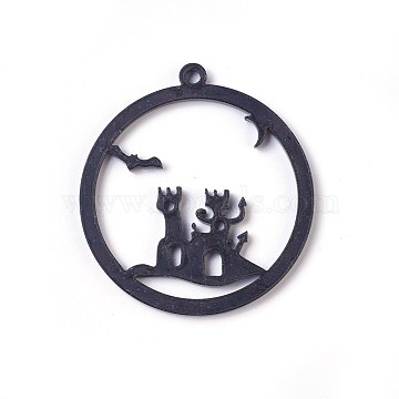 Acrylic Open Back Bezel Pendants, For DIY UV Resin, Epoxy Resin, Pressed Flower Jewelry, Witch Castle, Black, 52x48x2.5~3mm, Hole: 2.5~3mm(X-KY-WH0019-12)