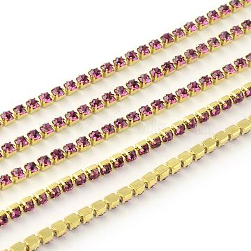 Nickel Free Raw(Unplated) Brass Rhinestone Strass Chains, Rhinestone Cup Chain, 2880pcs rhinestone/bundle, Grade A, Rose, 2.2mm, about 23.62 Feet(7.2m)/bundle(CHC-R119-S6-09C-1)