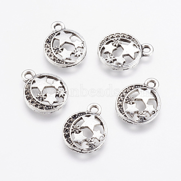 Alloy Pendants, Flat Round and Star, Antique Silver, 16x12.5x2mm, Hole: 1.5mm(X-PALLOY-G192-14AS)