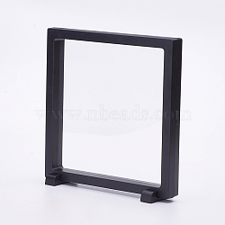 Plastic Frame Stands, with Transparent Membrane, For Ring, Pendant, Bracelet Jewelry Display, Square, Black, 18x18x2cm(ODIS-P006-02B)