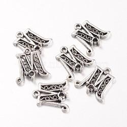 Argent antique supports de couleur alliage pendentif en strass, letter.m, sans plomb et sans cadmium, longueur d'environ 17 mm ,  largeur de 17 mm, épaisseur de 4mm, trou: 1 mm; apte à 2.5 mm strass(X-EAA200Y)