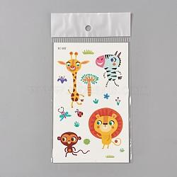 Faux tatouages temporaires amovibles, imperméable, autocollants papier de dessin animé, animaux, colorées, 120~121.5x75mm(AJEW-WH0061-B29)