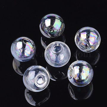 Round Handmade Blown Glass Globe Ball Bottles, for Glass Vial Pendants Making, Clear AB, 20x18~19mm, Half Hole: 5mm(X-BLOW-R002-20mm-AB)