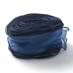 Organza Ribbon, Wired Sheer Chiffon Ribbon, for Package Wrapping, Hair Bow Clips Accessories Making, Prussian Blue, 2-1/8 inch(55mm), 35m/bag(38.28yards/bag)(ORIB-B001-07)