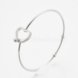 304 Stainless Steel Bangles, Heart, Stainless Steel Color, 2-3/8 inches(6.2cm)x2-3/8 inches(6cm), 2mm(X-STAS-N084-03)