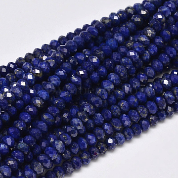 Faceted Rondelle Natural Lapis Lazuli Bead Strands, 3x2mm, Hole: 1mm; about 187pcs/strand, 15.5 inches(G-F289-41A)