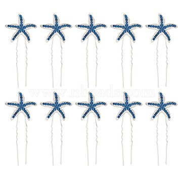 Iron Hair Stick Findings, with Rhinestones, Starfish, Blue, 74.5~75mm(OHAR-TAC0004-02A)