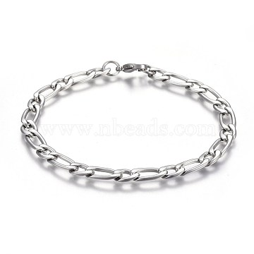 304 Stainless Steel Figaro Chain Bracelets, with Lobster Claw Clasps, Stainless Steel Color, 8-5/8inches(21.8cm); 6mm(BJEW-L637-04B-P)