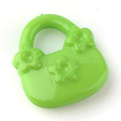 Supports de strass pendentif acrylique, sac à main, limegreen, 20x17x5mm, trou: 7 mm; apte à 2 mm strass(X-SACR-Q143-C23)