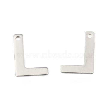 304 Stainless Steel Letter Charms, Letter.L, 11x7.5x0.5mm, Hole: 1mm(X-STAS-O072-L)