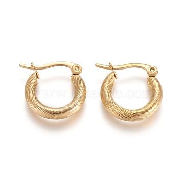 304 Stainless Steel Geometric Hoop Earrings, Hypoallergenic Earrings, Twist Ring, Golden, 9 Gauge, 15~17x3mm, Pin: 1x0.6mm(X-STAS-D171-16C-G)