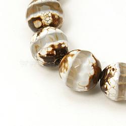 Perles de style tibétain, agate naturel, teint, facette, rond, 12mm, Trou: 1mm(TDZI-G002-12mm-10)