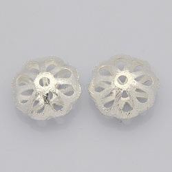 laiton perles en filigrane creux, fleur, plaqué argent, 18x9 mm, trou: 3 mm(KK-J188-12S)