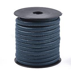 PU cordons en cuir, mediumblue, 5.5~6 mm; sur 10 m / rouleau(LC-S019-01D)