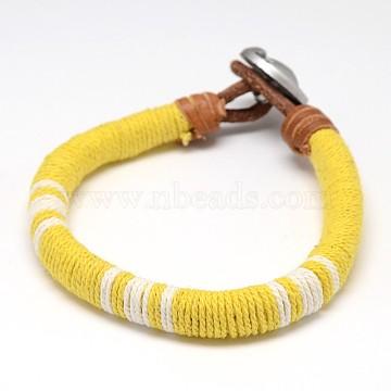 Yellow Leather+Alloy Bracelets