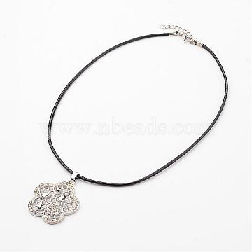 Flower Alloy Rhinestone Pendant Necklaces, with Waxed Cord and Lobster Claw Clasps, Platinum, 17.5inches(NJEW-F197-36)