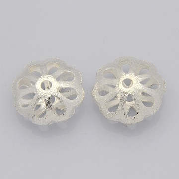 Brass Hollow Filigree Beads, Flower, Silver Color Plated, 18x9mm, Hole: 3mm(KK-J188-12S)