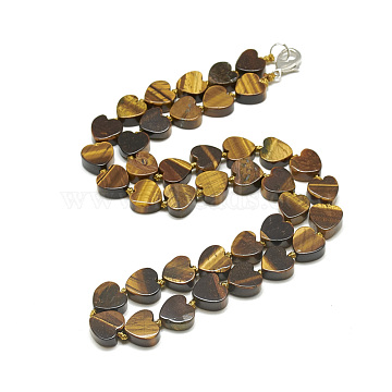 Natural Tiger Eye Beaded Necklaces, with Alloy Lobster Clasps, Heart, 19.2inches(49cm), Heart: 10x10x5.5mm(NJEW-S403-13)
