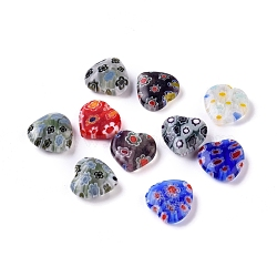 Handmade Millefiori Glass Heart Beads, Mixed Color, 12x12x5mm, Hole: 1mm(X-LK-P017-M)