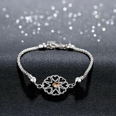 Exquisite Silver Color Plated Brass Cubic Zirconia Flower Link Bracelets(BJEW-BB00819)-3