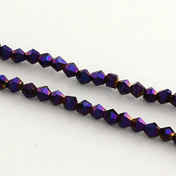 Electroplate Glass Bead Strands, Rainbow Plated, Faceted Bicone, Purple Plated, 4x4.5mm, Hole: 1mm; about 104pcs/strand, 18