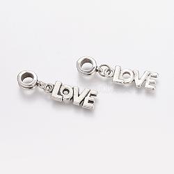 Perles européennes de pendentif en alliage , mot d'amour, argent antique, 33mm, Trou: 5mm(X-PALLOY-JF00001-26)