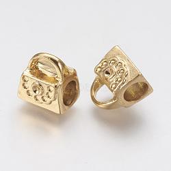 Supports de strass de perles européennes en 304 acier inoxydable, Perles avec un grand trou   , sac, or, 11x10x8mm, trou: 4.5 mm; apte à 1 mm strass(STAS-J022-001G)