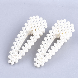 ABS Plastic Imitation Pearl Alligator Hair Clips, Teardrop, White, 70.5x26mm(OHAR-S198-03)