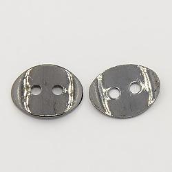2 -hole laiton ovale bouton fermoirs, gunmetal, environ 10 mm de large, Longueur 14mm, épaisseur de 1mm, Trou: 1mm(X-KK-G080-B)