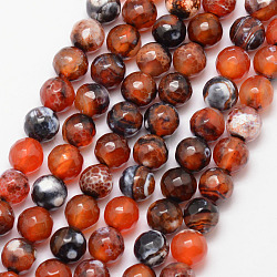 Natural Fire Agate Bead Strands, Round, Grade A, Faceted, Dyed & Heated, Chocolate, 8mm, Hole: 1mm; about 47pcs/strand, 15inches