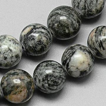 Natural Black Silk Stone/Netstone Bead Strands, Round, 10~10.5mm, Hole: 1.5mm; about 39pcs/strand, 15.4inches(G-Q948-75)
