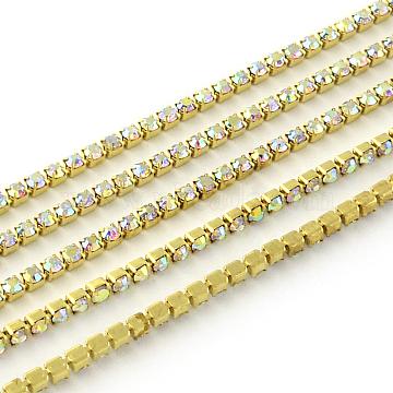 Nickel Free Raw(Unplated) Brass Rhinestone Strass Chains, Rhinestone Cup Chain, 2880pcs rhinestone/bundle, Grade A, Crystal AB, 2.2mm, about 23.62 Feet(7.2m)/bundle(CHC-R119-S6-16C-1)