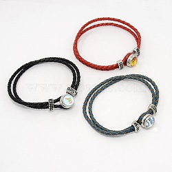 2 brin ß bracelets d'accrochage en cuir tressé, avec motif aléatoire zinc environnement touches alliage cabochon de verre d'accrochage, couleur mixte, 200x6mm(BJEW-M064-M)