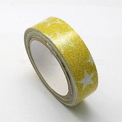 """Motif imprimé ruban de coton, avec de la poudre de paillettes, et du ruban adhésif sur l'autre côté, verge d'or, 5/8"""" (15 mm); environ 4.37yards / rouleau (4m / rouleau), 10 rouleaux / groupe(OCOR-S079-1.5cm-05)"""