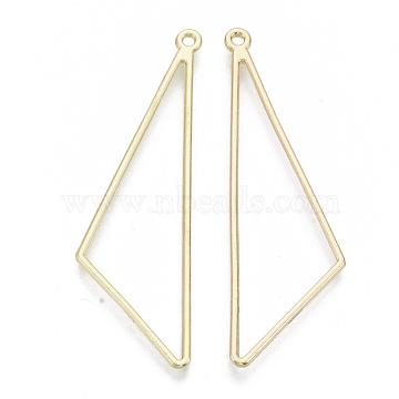 Alloy Open Back Bezel Big Pendants, For DIY UV Resin, Epoxy Resin, Pressed Flower Jewelry, Triangle, Light Gold, 57x17.5x1.5mm, Hole: 1.6mm(X-PALLOY-S132-001)