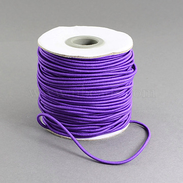 Round Elastic Cord, with Nylon Outside and Rubber Inside, Indigo, 0.8mm; about 100m/roll(EC-R001-0.8mm-006A)