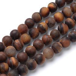 """Chapelets de perle ronde en œil de tigre naturel, style mat, 4~4.5mm, trou: 1mm; environ 96 pcs/chapelet, 15.5""""(G-T055-4mm-04)"""