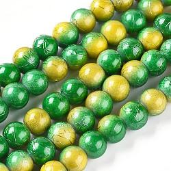 """Deux tons brins de perles de couleur cuisson drawbench peint en verre, rond, or, 8~8.5x7.5~8mm, trou: 1.5mm; environ 106 pcs/chapelet, 31.4""""(DGLA-S104-8mm-SA34)"""