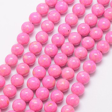 10mm HotPink Round Fossil Beads
