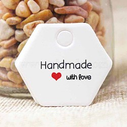 Jewelry Display Kraft Paper Price Tags, Hexagon with Word Handmade with Love, White, 30x35x0.4mm, Hole: 4mm(CDIS-P001-A02)