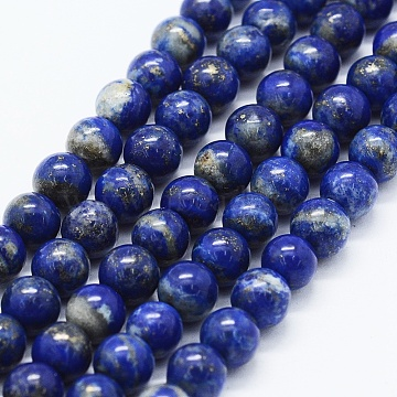 Natural Lapis Lazuli Beads Strands, Round, 6mm, Hole: 0.5mm; about 65pcs/strand, 15.5 inches(39.5cm)(X-G-F561-6mm-G)