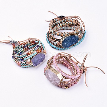 Five Loops Leather Warp Bracelets, with Natural & Synthetic Mixed Stone, Glass Beads and Alloy Findings, 31.1 inches~35.8 inches(79~91cm); 7~10mm(BJEW-F395-A)